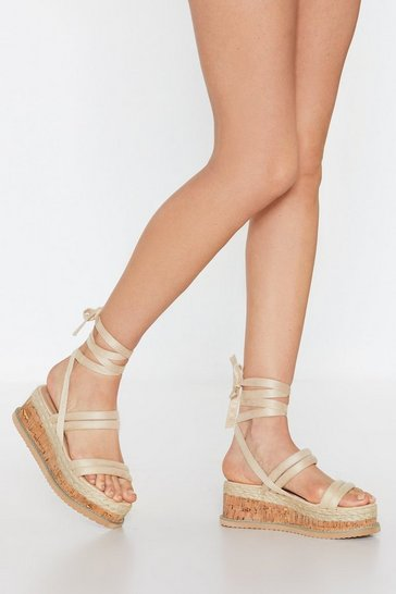 Womens Nude Step Outside Tube Wrap Sandals