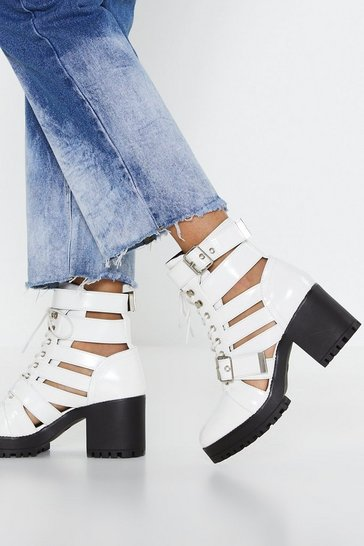 Womens White Cut-Out of Luck Block Heel Boots