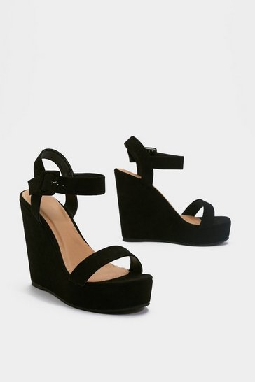 Womens Black High What's Up Faux Suede Wedges