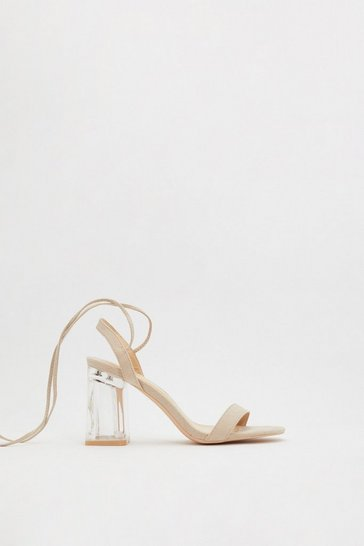 Nude Immi Clear Flare Ankle Tie 2 Part Heels