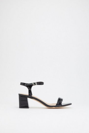 Womens Black A Low It Croc Flare Block Sandals