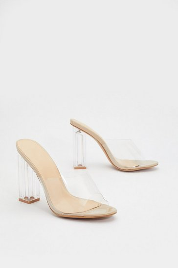 Womens Nude In the Clear Block Mules
