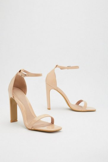 Womens Cream Flat 'Em Down Patent Square Toe Heels