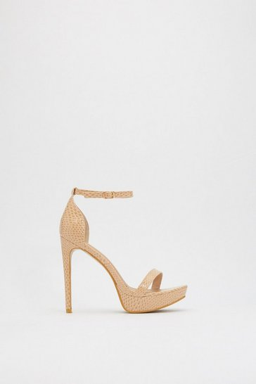 Womens Nude PU Snake Platform Two Part Heels