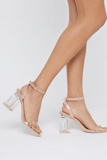 Nude Faux Leather Clear Block Heels
