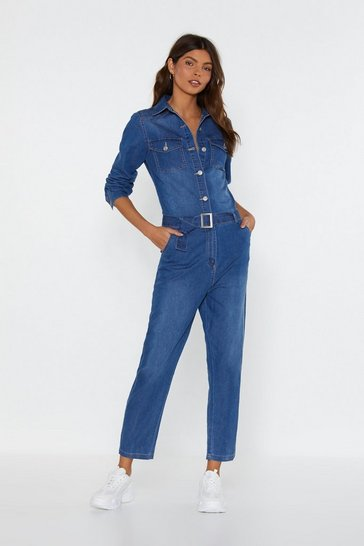 Womens Blue No Buckles Given Denim Belted Jumpsuit