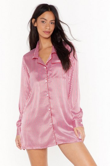 Womens Red Stripe to Bed Satin Pajama Shirt