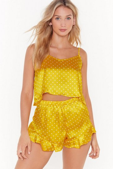 Womens Chartreuse Polka Dot Satin Vest And Short PJ Set