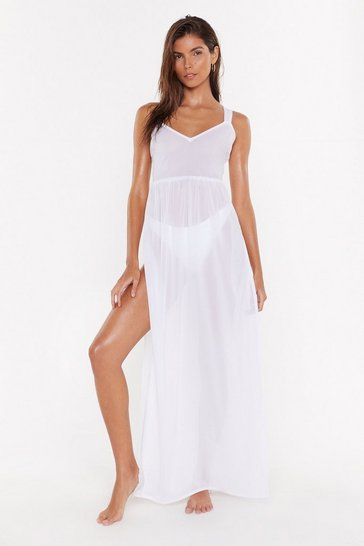 Womens Cream Find Me at the Beach Crossback Cover-Up Dress