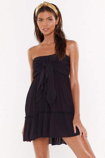 Womens Black Wrapped Up in the Moment Strapless Cover-Up Dress