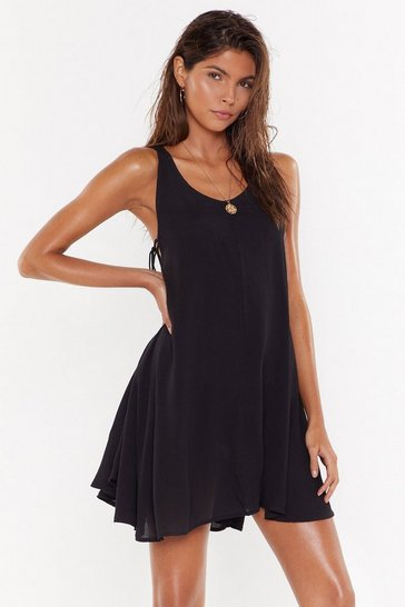 Womens Black Side Eye Lace-Up Cover-Up Dress