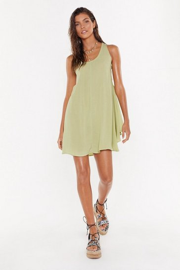 Womens Olive Side Eye Lace-Up Cover-Up Dress