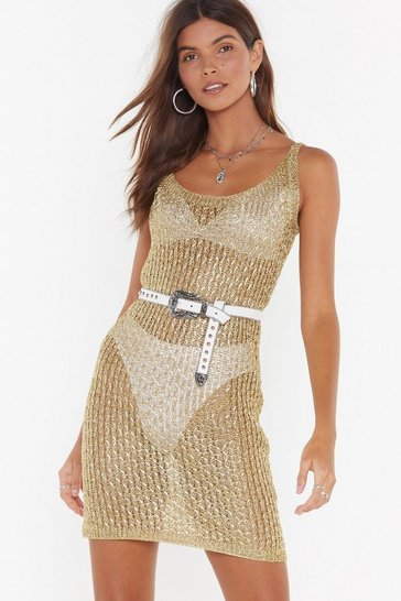Womens Gold Heading to Woodstock Metallic Knit Dress