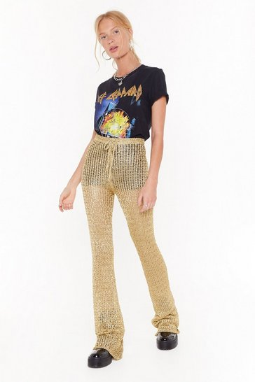 Womens Gold Heading to Woodstock High-Waisted Flared Trousers