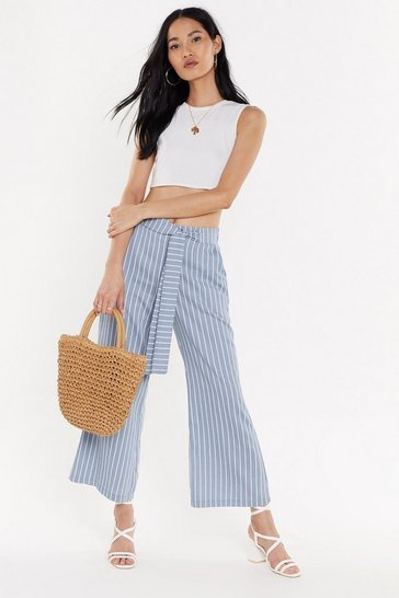 Womens Blue Stripe Tie Waist Pants