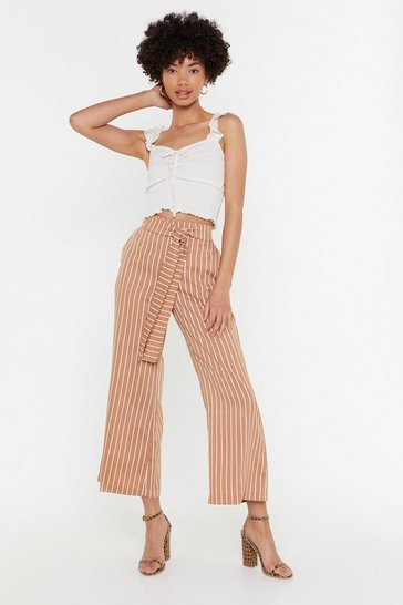 Womens Brown Stripe Tie Waist Pants