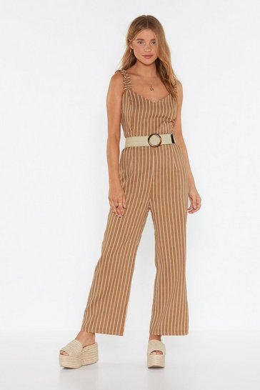 Womens Camel Get Your Facts Straight Striped Ruffle Jumpsuit