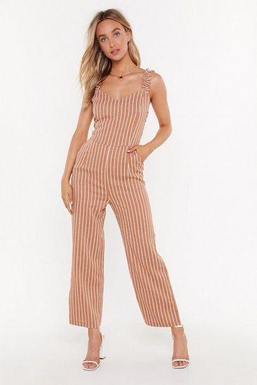 Womens Brown Get Your Facts Straight Striped Ruffle Jumpsuit