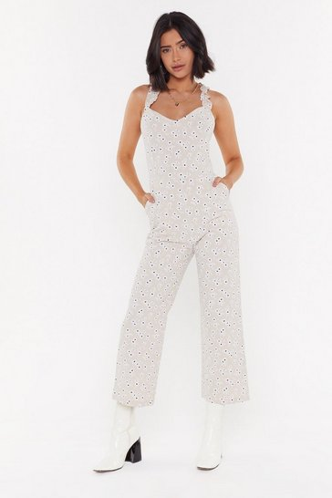 Womens Apricot Daisy Sundays Cropped Flare Jumpsuit