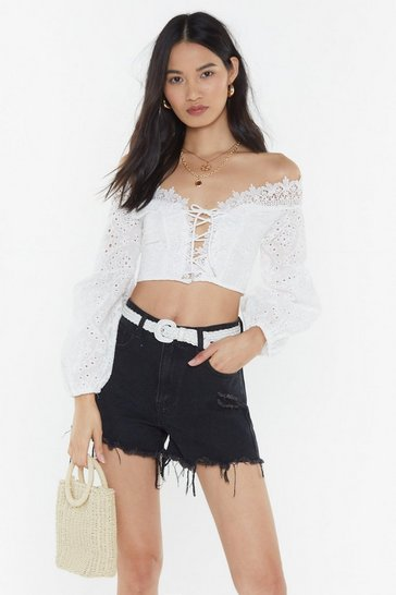 Womens White Broderie Onglais Lace Up Top