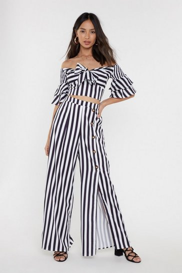 Womens Black Striped Knot Front Co-ord