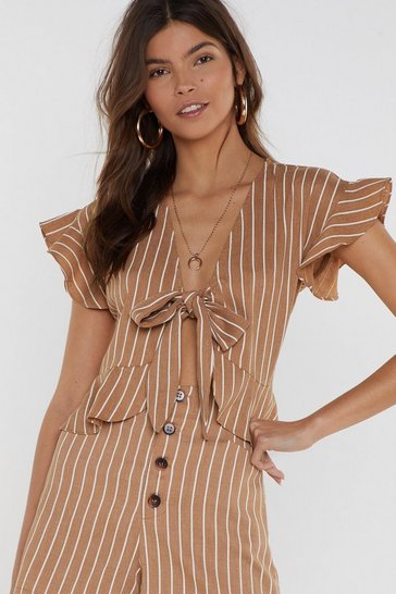 Womens Camel All Stripes of Rad Tie Top