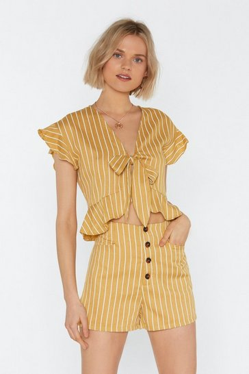 Womens Yellow All Stripes of Rad Tie Top