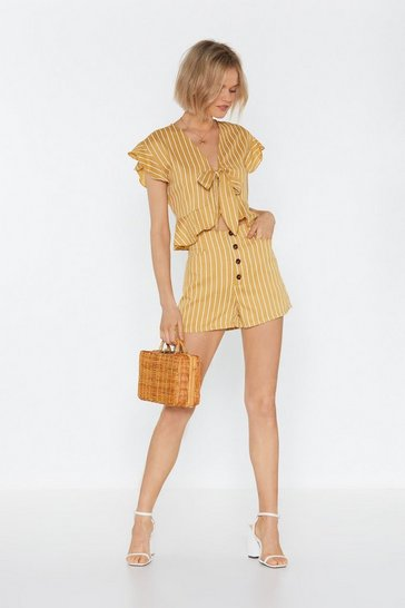 Womens Yellow All Stripes of Rad Button-Down Shorts