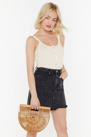 Womens Natural WANT Just Hold On Wooden Clutch Bag