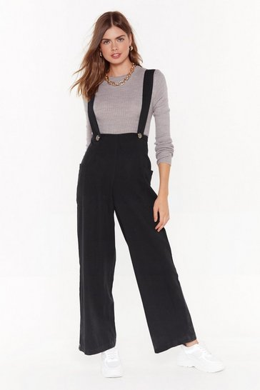 Womens Black Twenty Four Denim Wide Leg Dungarees