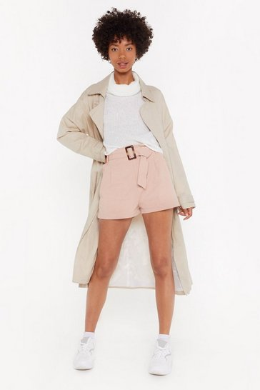 Womens Blush The Girl Can't Belt It High-Waisted Paperbag Shorts
