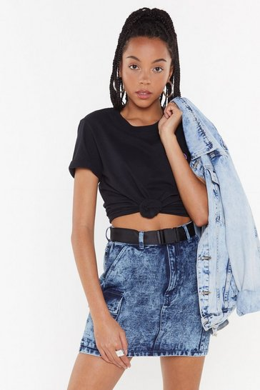 Womens Blue Waisted On You Acid Wash Denim Mini Skirt