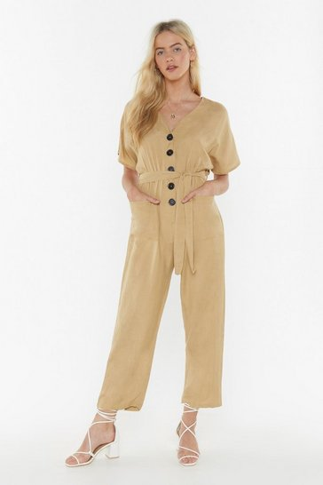 Womens Stone A Little Work Denim Button-Down Boilersuit