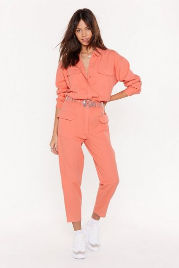 Coral Let's Make It Work Denim Belted Boilersuit