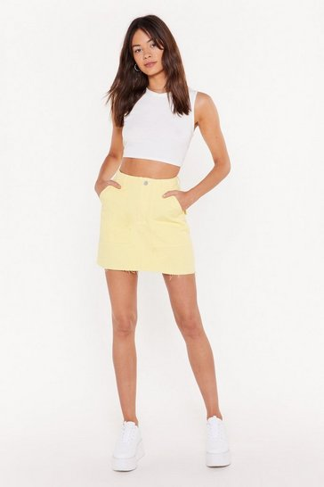 Womens Lemon Utility Pocket Denim Skirt