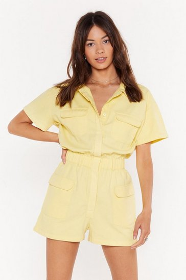 Womens Lemon We Could Work This Out Button-Down Romper