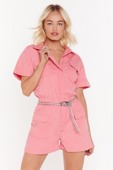 Womens Pink Denim Romper