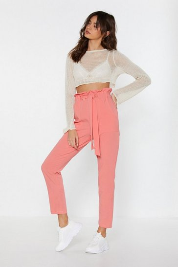 Womens Coral Paperbag Belted Trousers