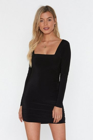 Black I Wanna Dance With Somebody Ruched Mini Dress