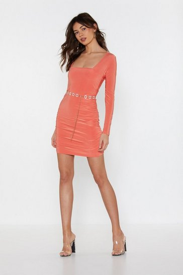 Womens Coral I Wanna Dance With Somebody Ruched Mini Dress
