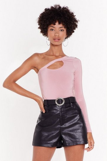 Womens Dusky pink Disco Inferno Cut-Out One Shoulder Top