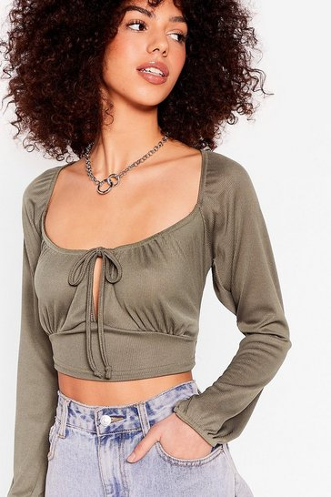 Khaki Square Neck Long Sleeve Tie Crop Top