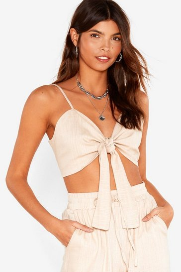 Womens Ecru Knot It Linen Crop Top