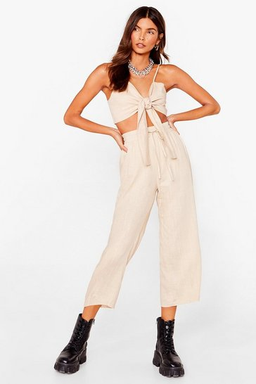 Ecru Is It Crop in Here Linen Wide-Leg Pants