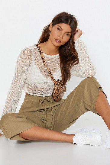 Khaki Is It Crop in Here Linen Wide-Leg Pants