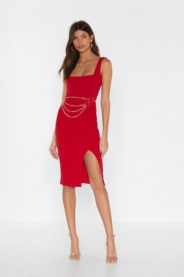 Red Squarin' to Go Midi Dress