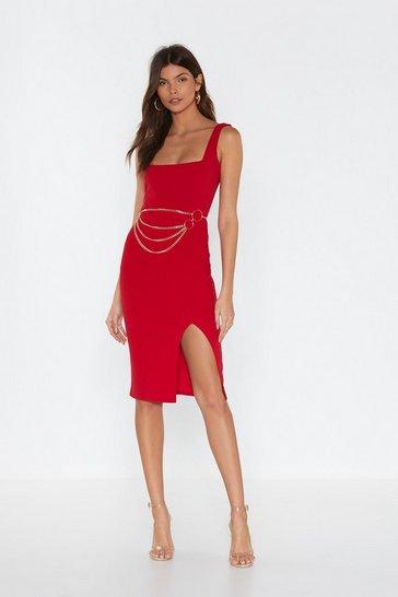 Red Squarin' to Go Midi Dress