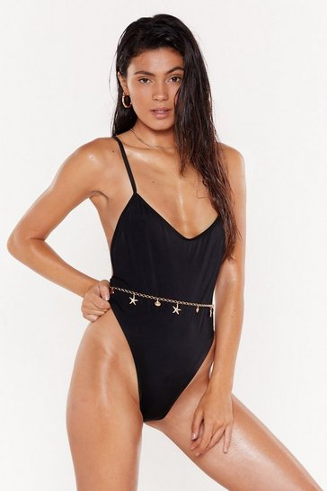 Womens Black Rouch Front Extreme High Leg Swimsuit
