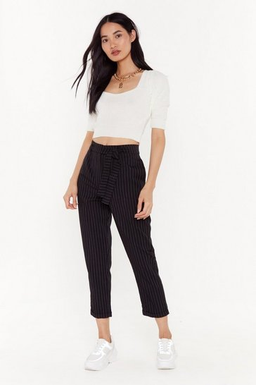 Black In Less Than No Line Pinstripe High-Waisted Pants
