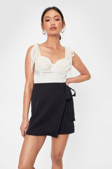 Black In Less Than No Line Pinstripe High-Waisted Skirt